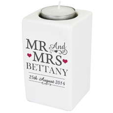 Personalised Mr & Mrs Ceramic Tea Light Holder