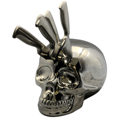 Skull Kitchen Knife Block Silver Chrome