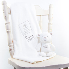 Personalised Comfort Blanket & Bear Baby Gift Set