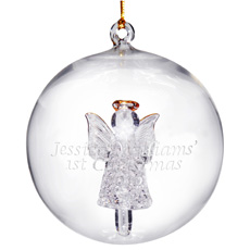 Personalised Glass Angel Bauble