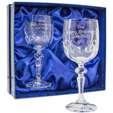 Pair of Cut Crystal Wine Glasses - Personalised