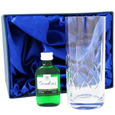 Personalized Crystal Glass and Gin Gift Set