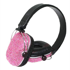 Diamante Headphones - Pink