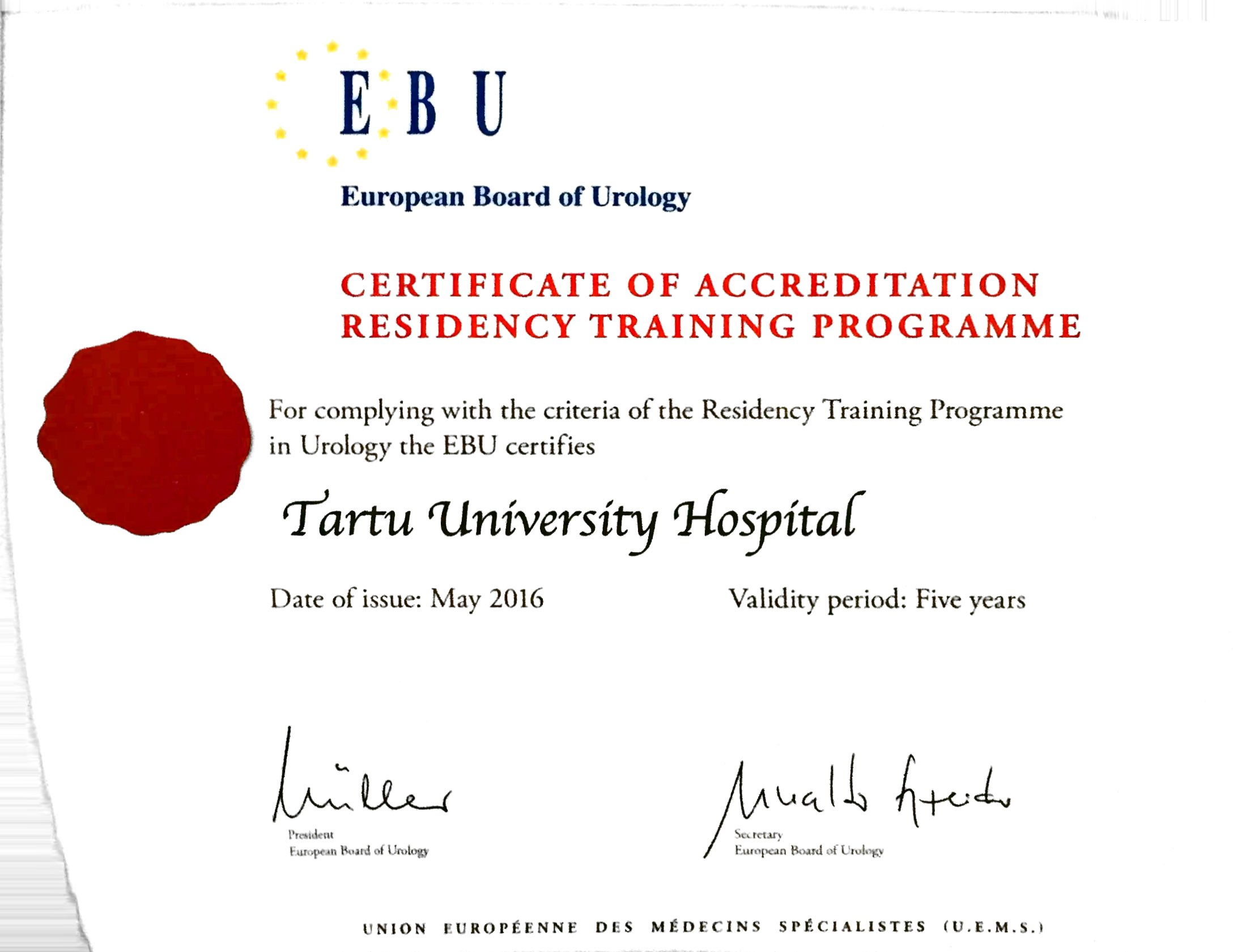 Certification on Accreditation Residency Training Programme