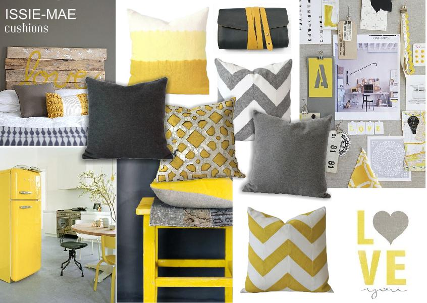 Issie-Mae Cushions - Gray + Yellow
