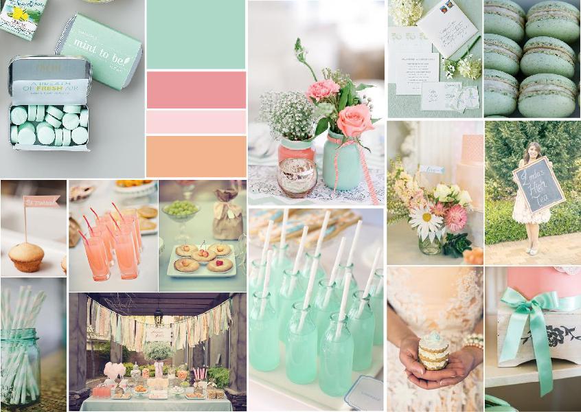 Peach & mint bridal shower