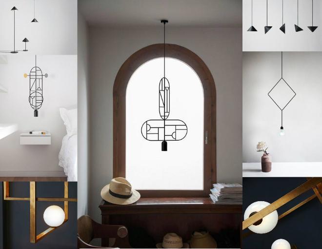 Metal lighting fixtures in geometric shapes