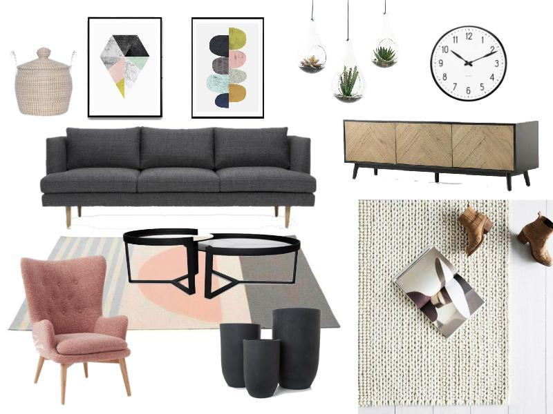 Midcentury modern inspired living room