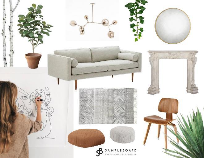 Ella Rennus art inspired living room design board