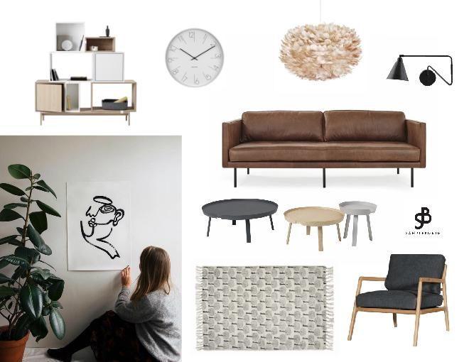 Modern Scandinavian living room concept featuring Ella Rennus one line art