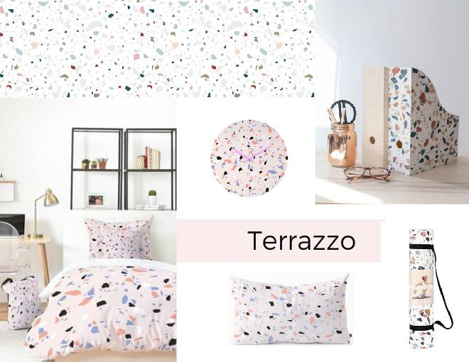 Terrazzo trend with pink as a dominant color