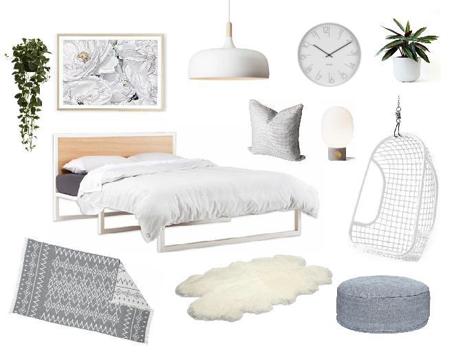 Serene bedroom with hints of grey