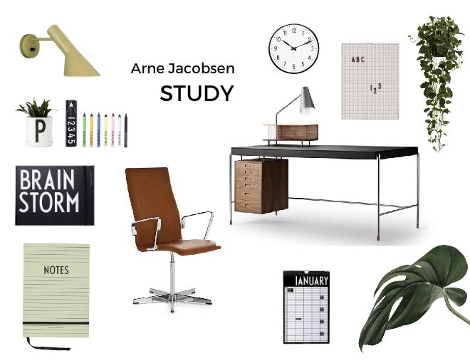 Arne Jacobsen Mid Century Modern Iconinc Furniture Study Room