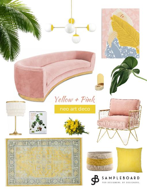 Neo art deco pink and yellow
