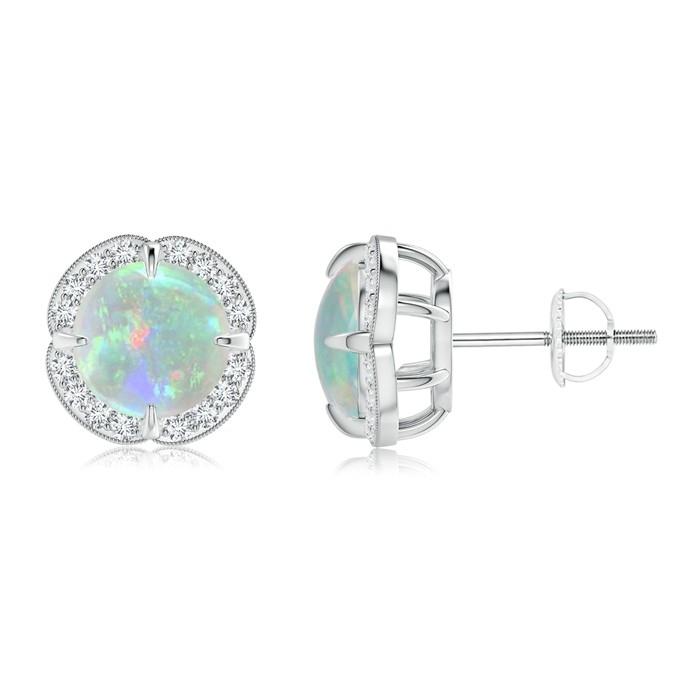 Angara 5mm Opal Diamond Flower Earrings in Yellow Gold gEtnKND499