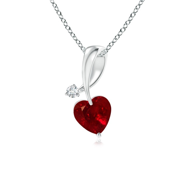Selling heart ruby and diamond twisted bale pendant in 14k white heart ruby and diamond twisted bale pendant in 14k white gold aloadofball Images
