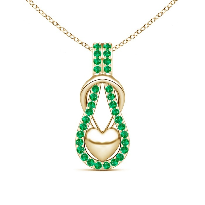 Selling emerald encrusted love knot heart pendant in 14k yellow emerald encrusted love knot heart pendant in 14k yellow gold aloadofball Images