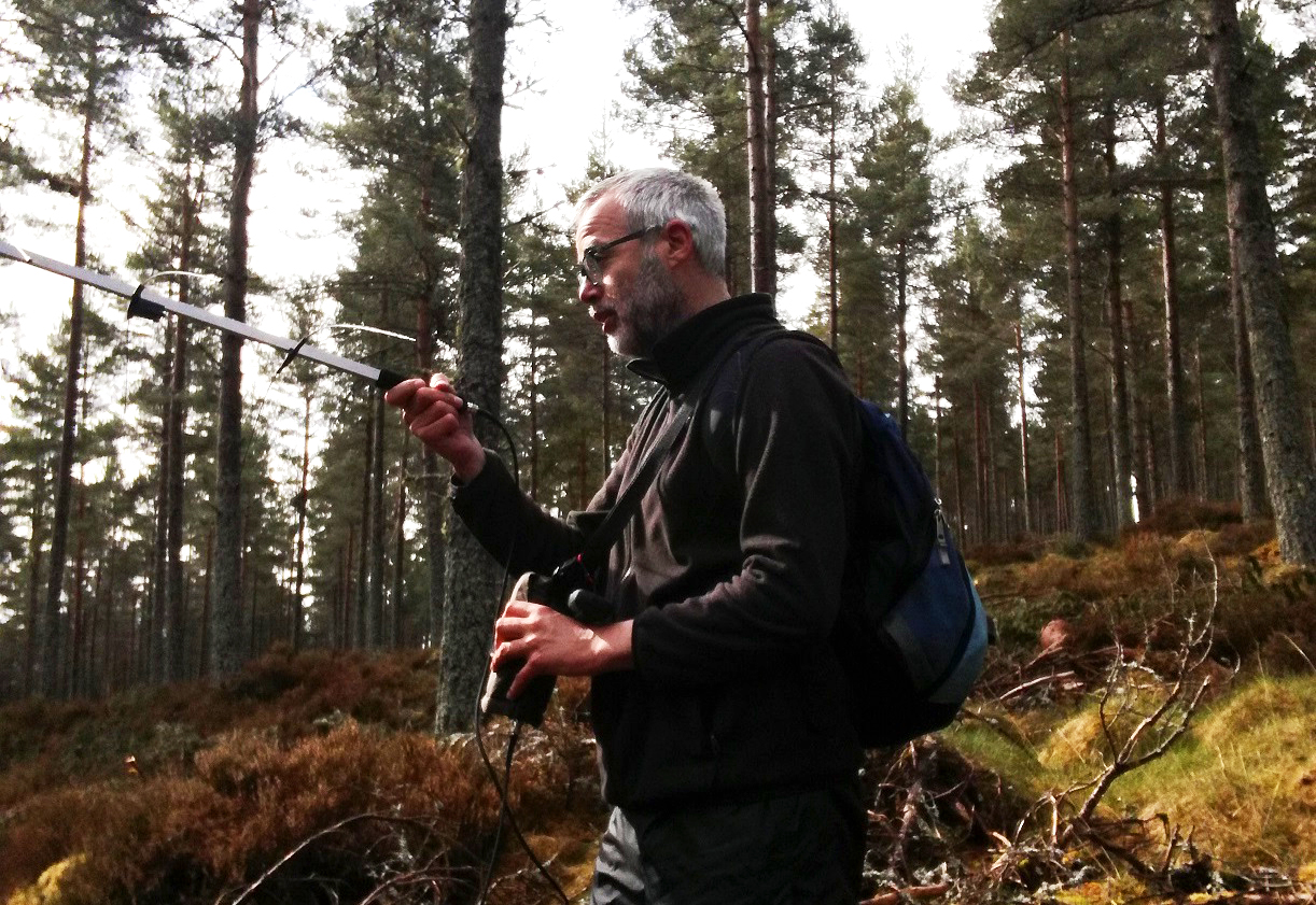 Andy Cox tracking red squirrels