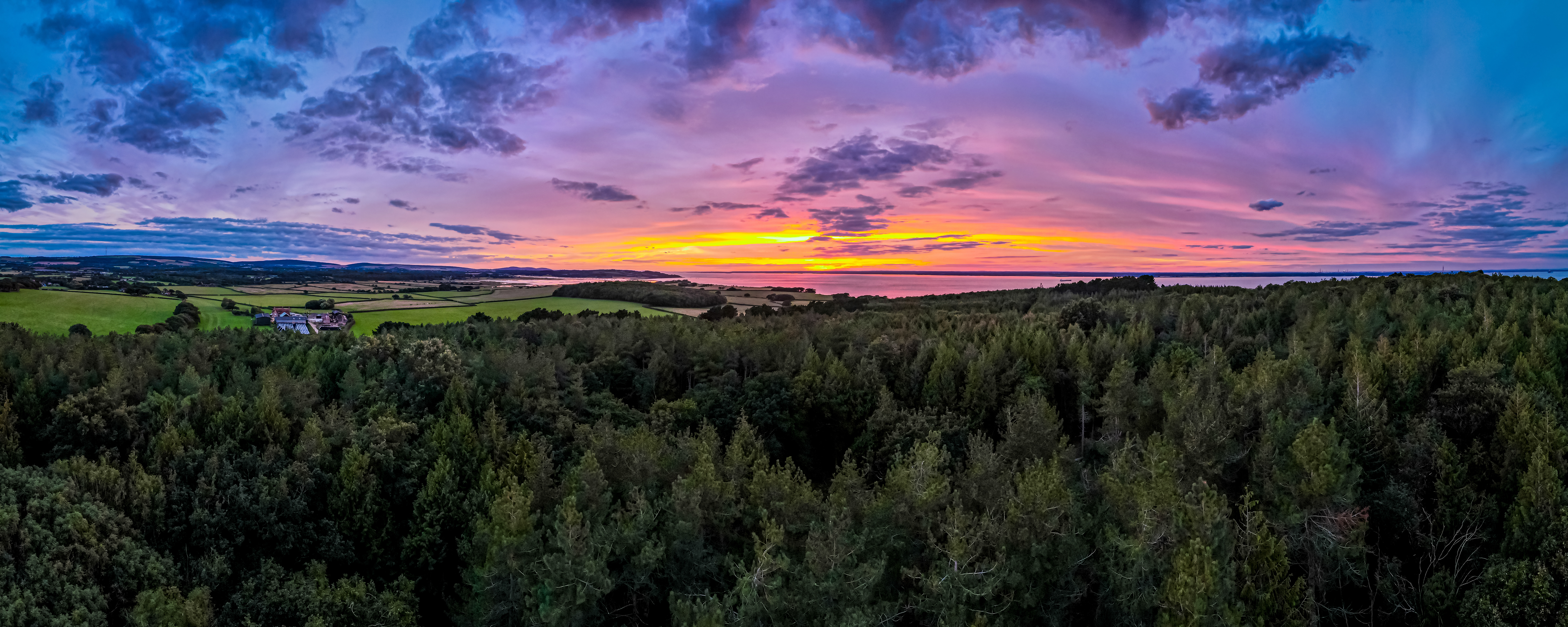 Sunset over woodland on the Isle of Wight