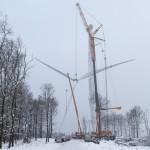 Lyft av rotorblad i Vindpark Uddared