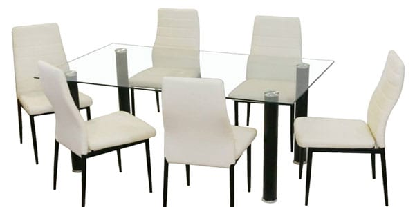 Ofert n conjunto mesa de comedor de cristal y 4 sillas for Super chollo muebles
