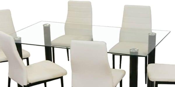 OFERTÓN! Conjunto mesa de comedor de cristal y 4 sillas solo ...