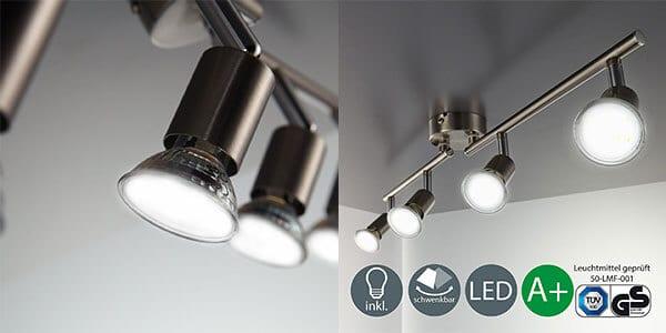OFERTA! Lámpara de techo LED con 4 focos orientables solo 29€
