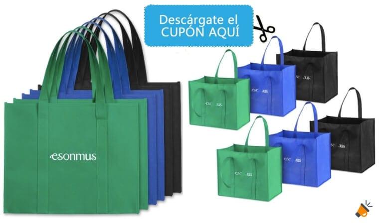 3c70f43b9 CUPÓN DTO.! Pack de 6 bolsas de Supermercado reutilizables por 14€