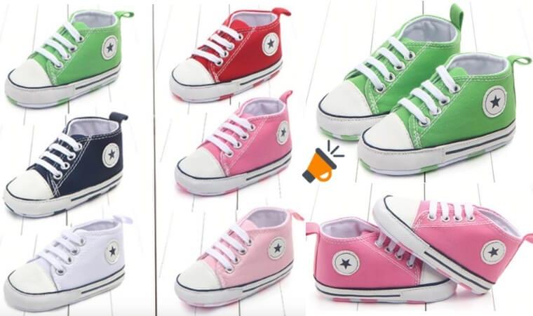 zapatillas bebe tipo all star 0 3 meses varios colores