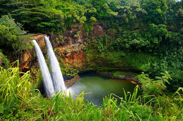 Watervallen op Kauai, Hawaii