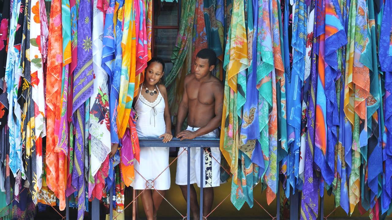 Locals op de markt in de Seychellen