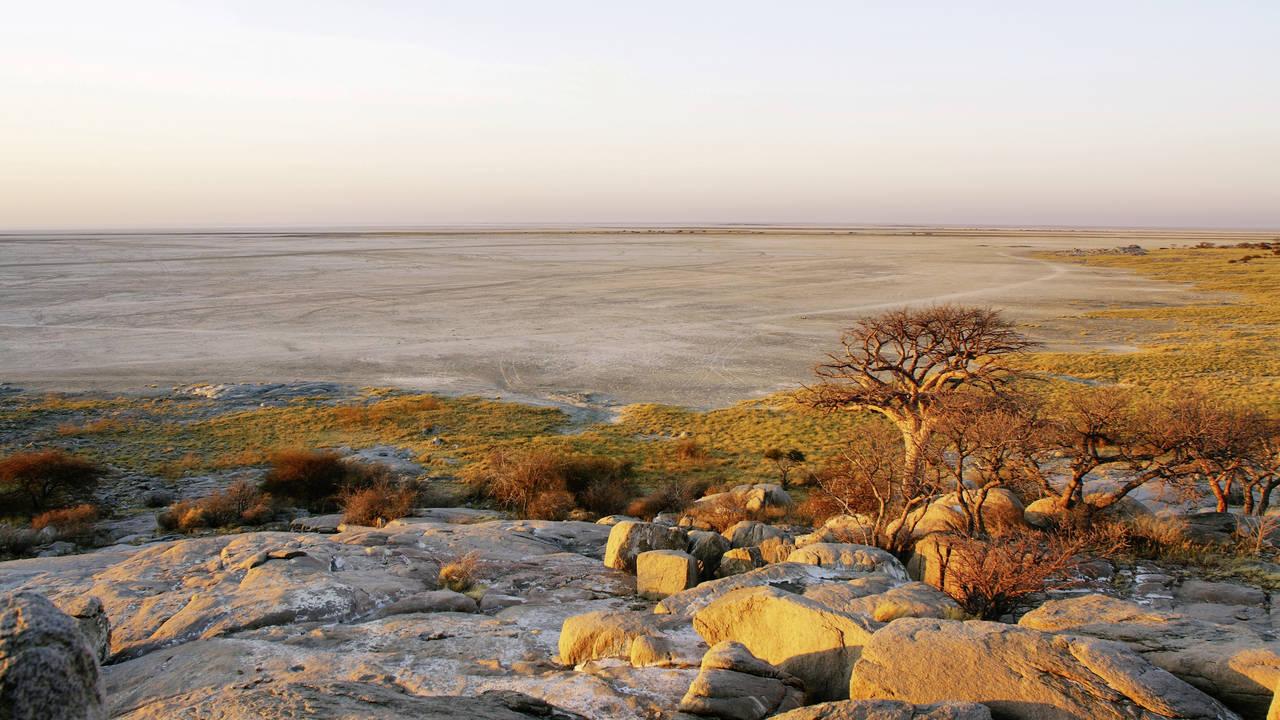 De Makgadikgadi Pans in Botswana