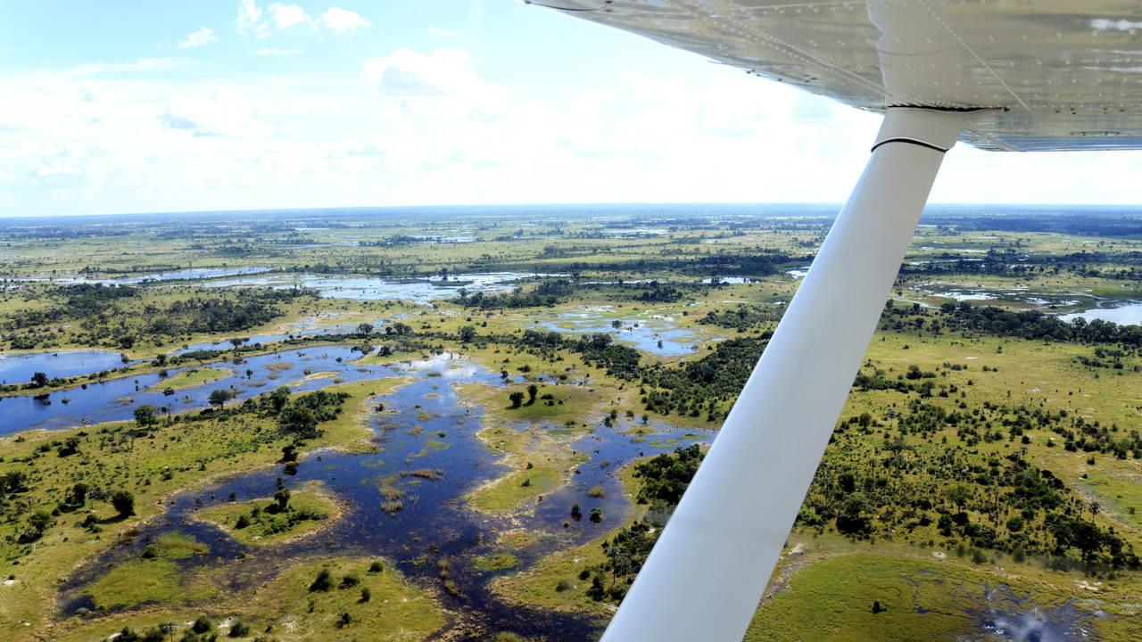 Vliegen boven de Okavango Delta in Botswana