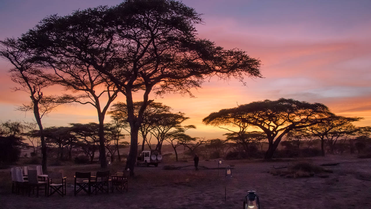 Zonsondergang, Serengeti