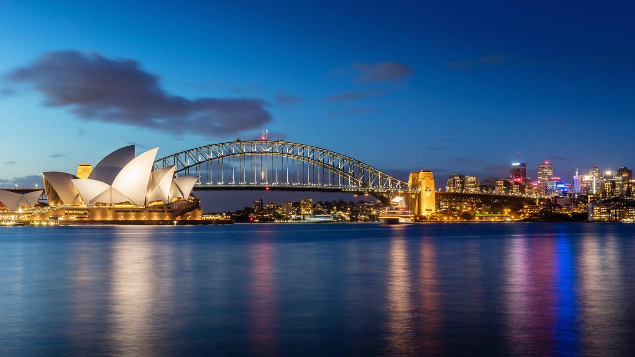 Sydney Skyline in de avond