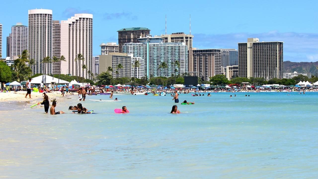 Waikiki strand in Honolulu, Hawaii