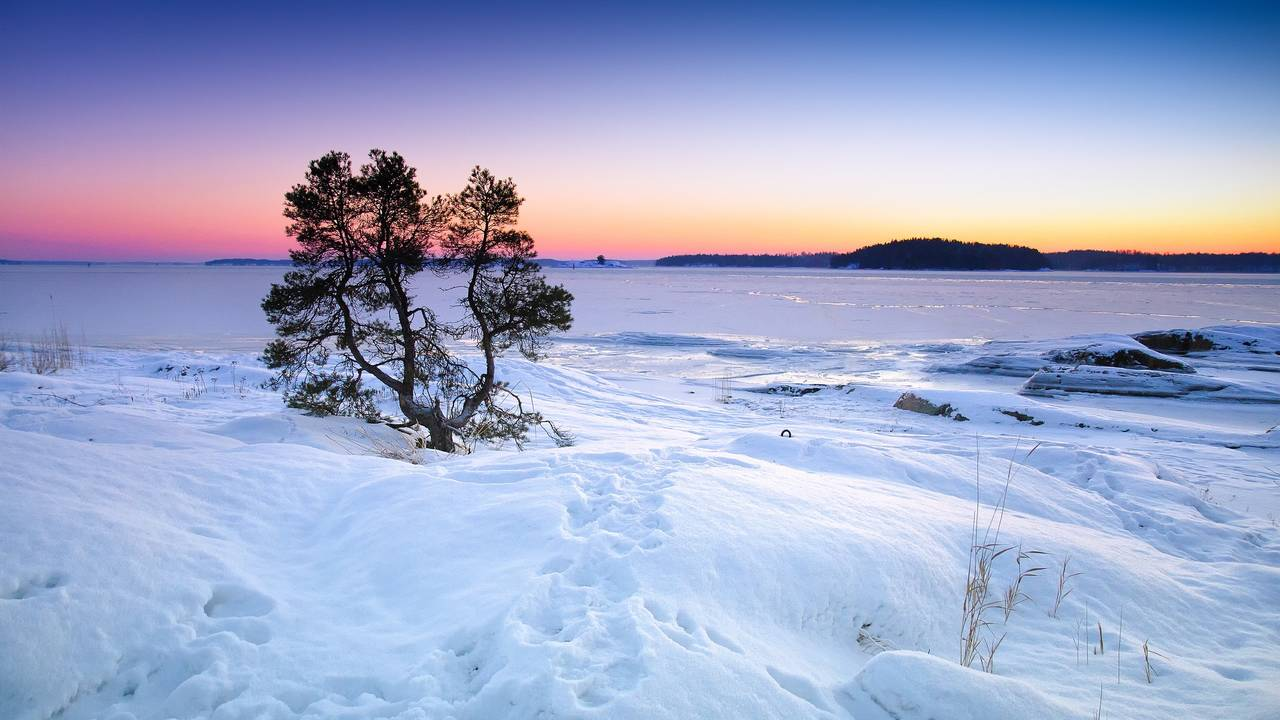 Zonsondergang, Fins Lapland