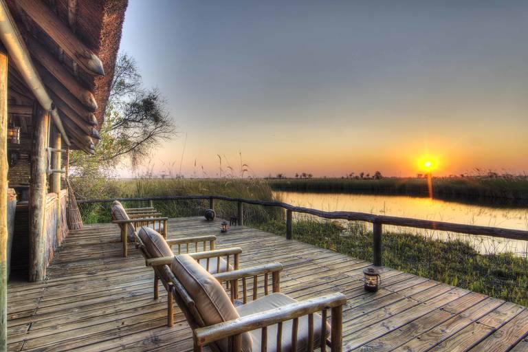 Zonsondergang in Okavango Delta