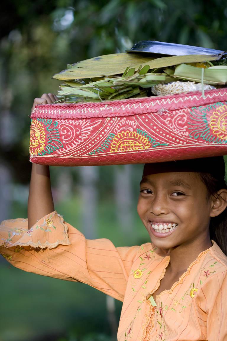 Blij gezicht op Bali