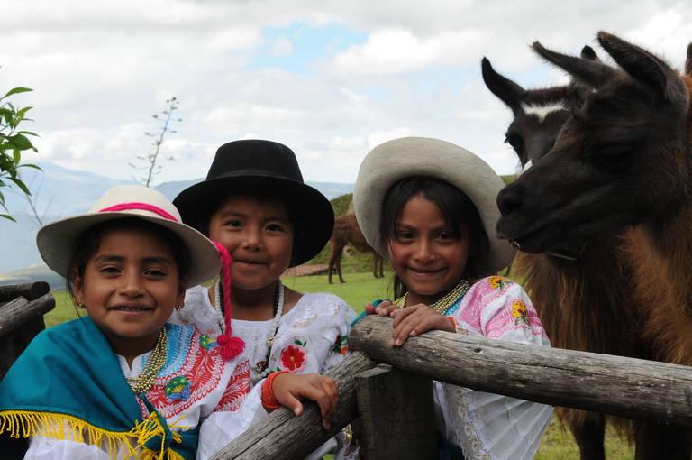 Lokale kinderen met lama's bij Ibarra