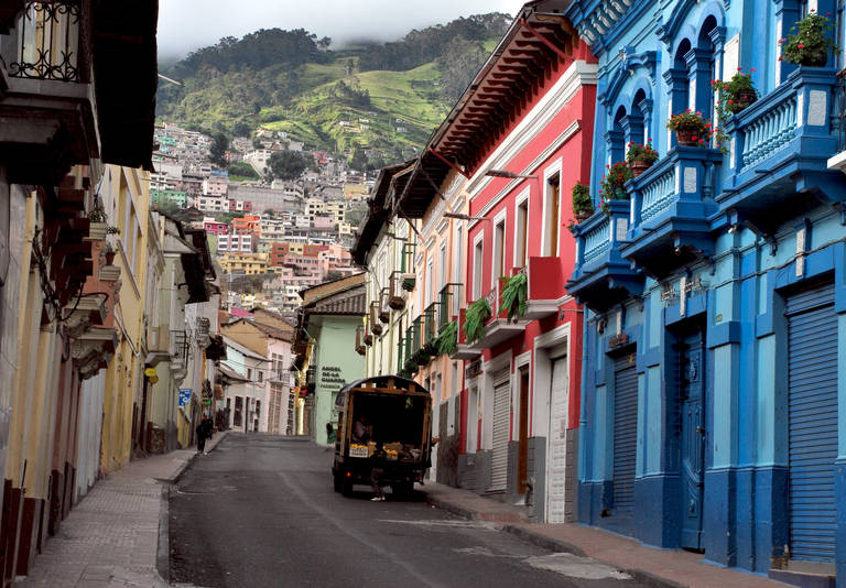Straatbeeld in Quito