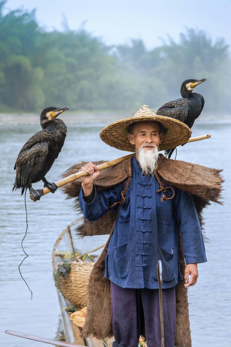 Chinese visser bij de Li Rivier
