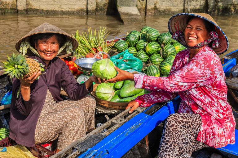 Vietnamese verkoopsters in de Mekong Delta