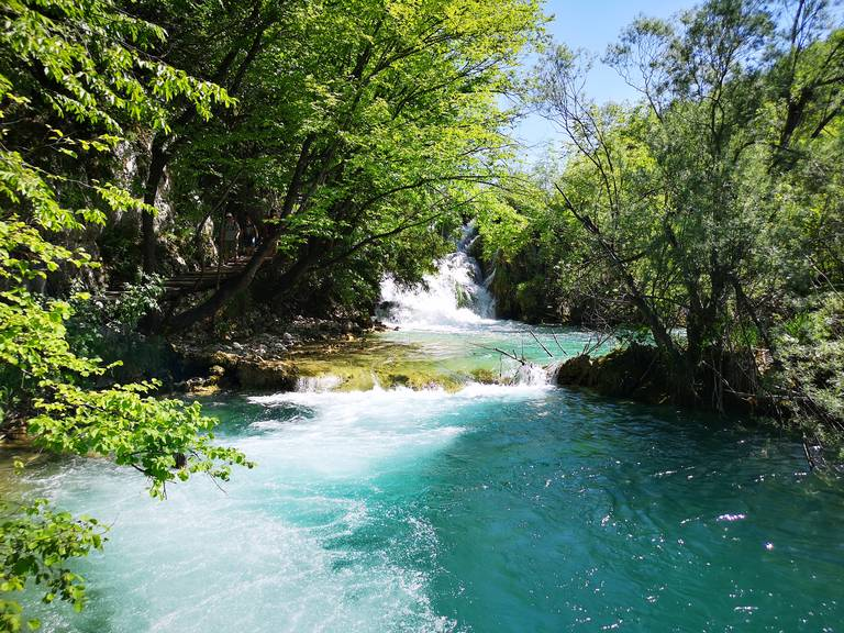 Een rivierstroom in Plitvice National Park