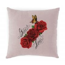 Hugs τετράγωνο μαξιλάρι - Pink with Sweet roses