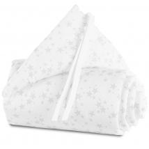 babybay® πάντα από οργανικό βαμβάκι για λίκνο Maxi/BoxSpring/Comfort - 160815 White stars/Pearl grey