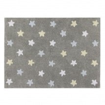 Lorena Canals παιδικό χαλί - Grey stars blue C-ST-B