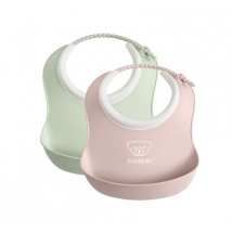 BabyBjörn μικρή μαλακή σαλιάρα 2-pack - pink/green 052043