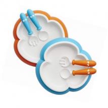 BabyBjörn πιάτο, κουτάλι, πιρούνι, 2 σετ - μπλε/πορτοκαλί
