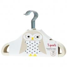 3 Sprouts παιδικές κρεμάστρες (σετ 10τμχ) - owl